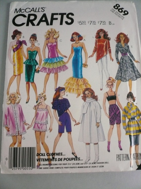 Vintage McCalls Pattern 869 Clothes for your 11 1/2 Inch Fashion Doll