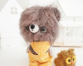 kawaii amigurumi Bear grayish brown fuzzy and dark golden miniOwl - Ready to Ship