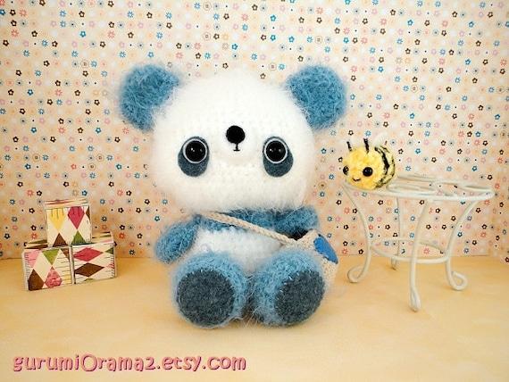 kawaii amigurumi Panda fuzzy blue and mini Bee by gurumiorama2