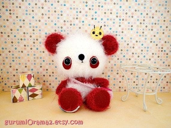Kawaii Amigurumi Bee : kawaii amigurumi Panda fuzzy red and mini Bee Ready to Ship