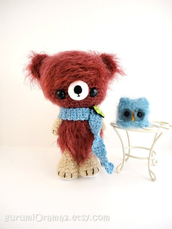 kawaii amigurumi Bear brown fuzzy and blue mini Owl - Ready to Ship