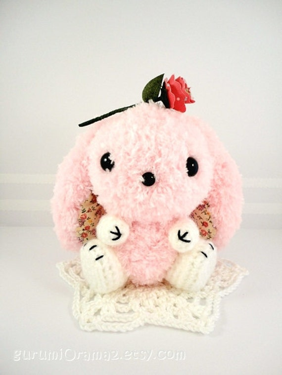 kawaii amigurumi Bunny pink fuzzy  - Ready to Ship