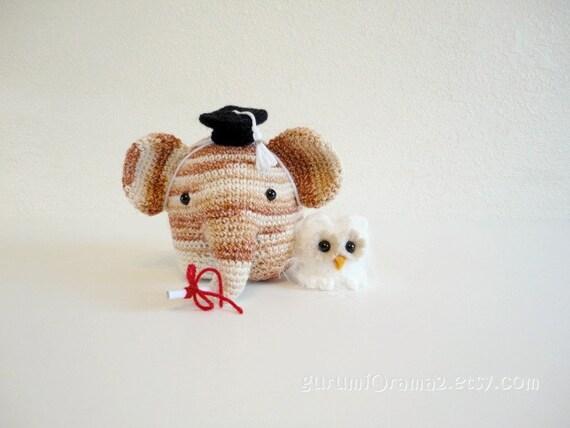 kawaii Elephant amigurumi petite size and mini fuzzy owl no. 22 - Ready to Ship