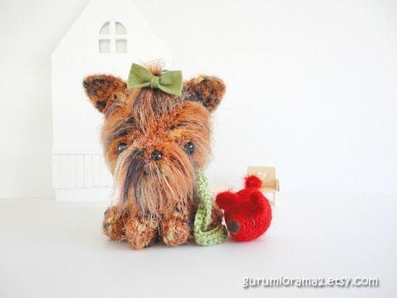 Amigurumi Dog Fur : kawaii amigurumi puppy Dog fuzzy brown and red by gurumiorama2