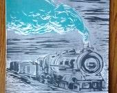 Steam Train lino print (blue)