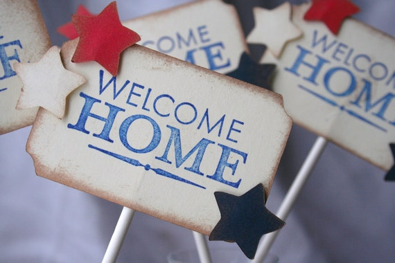 Items similar to welcome home military cupcake toppers for Welcome home troops decorations