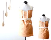 Mom and Me Apron - Coral Apron Family Pack - orange floral set of mother daughter, adult and child adjustable cotton cooking set