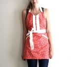 Pink Floral Apron - dark light pink and white flower adjustable cotton hostess apron with ruffles, pockets