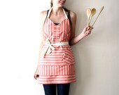 Red Stripe Apron - light red, cream, white thin stripe adjustable modern hostess apron with ruffle, tiers, pocket