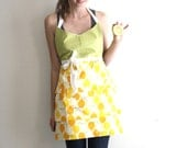 RESERVED FOR ERIN /// Lemon Apron - green polka dot and lemon print adjustable cotton hostess apron with pintucks, tiers, pockets
