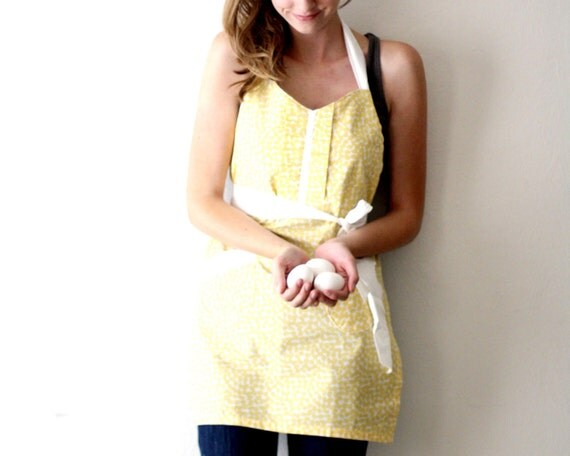 Yellow Spots Apron - butter and white retro hostess apron with ruffle and pockets