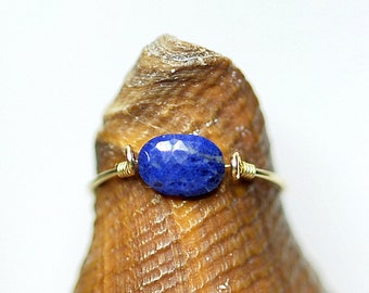 Navy Lapis Lazuli ring 14K gold filled,gold ring,