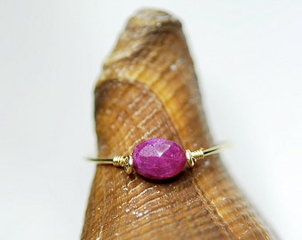 Hot pink  Ruby ring 14K gold filled, ruby ring.July Birthstone