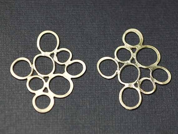 2 pcs Matte Gold plated CIRCLE and circle .big