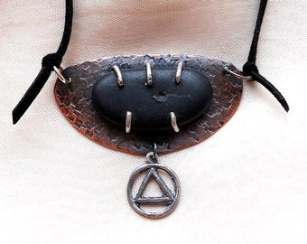 Stone Age Pendant - Sterling, silver, copper and Black Beach Stone. AA Alcoholics Anonymous Jewelry - One of a kind.
