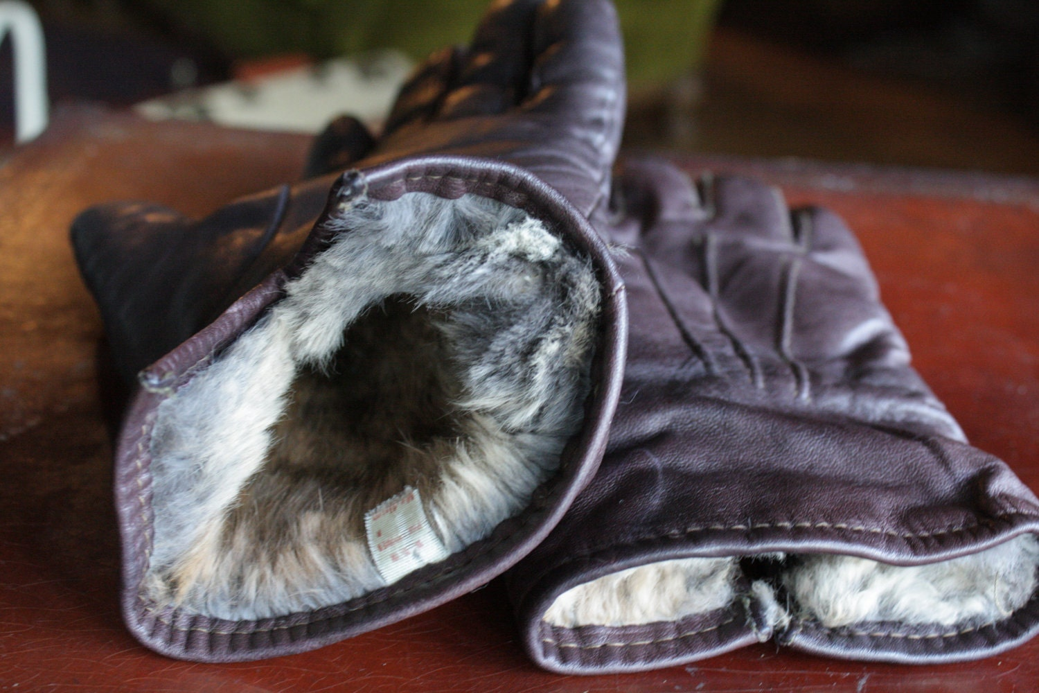 Mens leather gloves rabbit fur lined -  Mens Brown Leather Gloves With Rabbit Fur Zoom