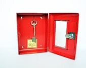 RESERVED - Vintage Red Metal Lock Box - Home Decor Storage