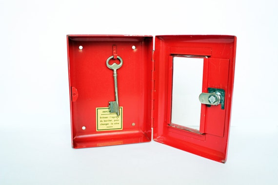 RESERVED - Vintage Red Metal Lock Box - Home Decor Storage