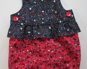 Infant girl's bubblesuit/romper in red, white and blue stars. 4th July and summer picnics.  Baby girl romper.  Newborn to 18 mo.