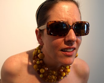 Bakelite Beaded Whimsical Statement Necklace Adjustable Choker Vintage and New Beads Yellow and Golden