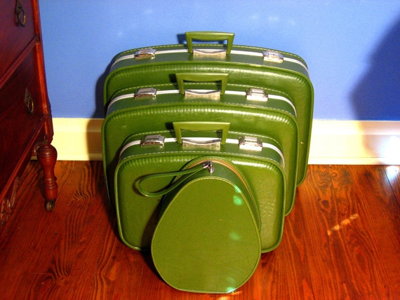 Emerald Green Vintage Luggage Set 4 Pieces
