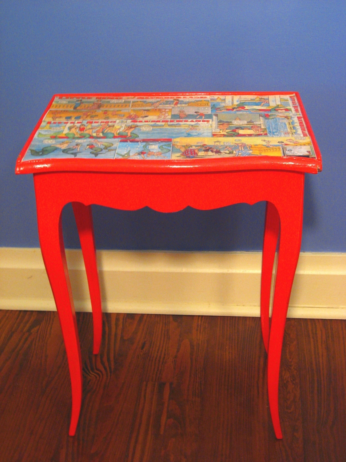 decoupage table little nemo in slumberland orange