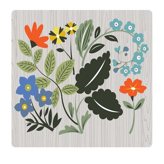 christine stalder Original Illustration - Quilt Floral Blue  Limited Edition Print