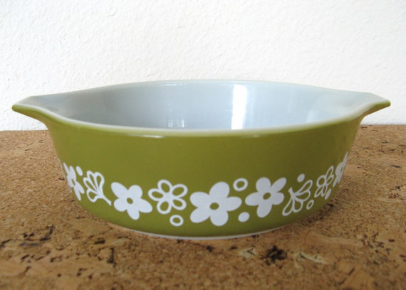 Pyrex Baking Dish-Vintage Avocado Green with Flowers