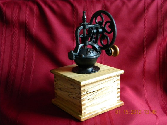 Coffee Grinder, Wood, Spalded Sycamore,  Adjustable Grind, Hand rubbed satin finish