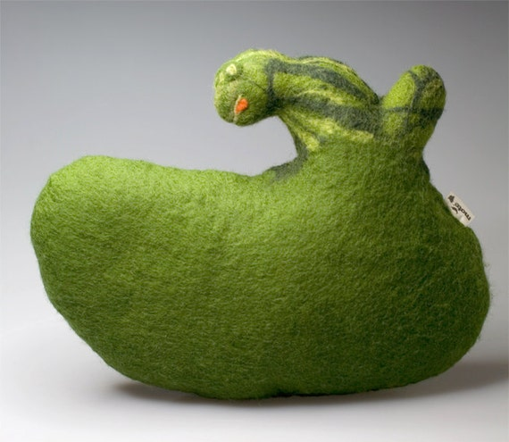 sale - green frog-pillow