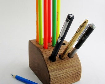 Back to school hand made vintage oak desk caddy for office,  home or studio. Ideal for pens, pencils,