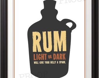 Rum, Rum Print, Rum Poster, Bar, Bar Print, Bar Poster, Alcohol Print, Rum Will Give Your Belly A Spark - 11x14 Print