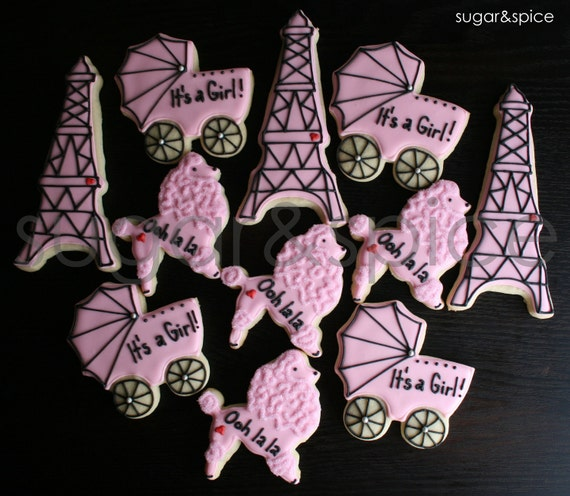 Items Similar To Parisian Theme Baby Shower   Poodle, Eiffel Tower, Baby  Carriage   12 Rolled Sugar Cookies On Etsy