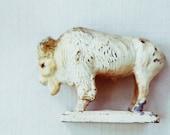 where the buffalo roamed - vintage metal buffalo statue