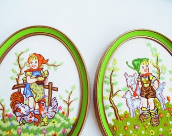Vintage Pair of Kitschy Needlepoint Farm Hummels Framed - lime green - instant collection - kitsch - wall art - flea market style - retro