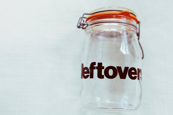 sloppy seconds - vintage leftovers typography glass jar