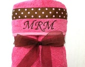 Large Hooded Towel for Children, Baby, Toddler, Kids, Child, Tots in Pink with Pink and Brown Polka Dot Ribbon and FREE Personalization