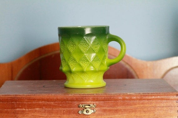Vintage 1970s Anchor Hocking Pyrex Fire King Kimberly Green Coffee Mug