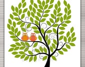 """DIY printable wedding alternative guest book 100 signatures. 24x24"""" tree with owls."""