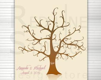 Fingerprints Tree printable. Alternative wedding guest book.150 - 200 Signature Thumbprint Poster