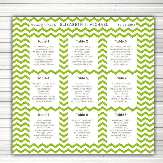 Printable Seating Chart For Wedding Reception: Items Similar To Wedding Reception Seating Chart. Chevron