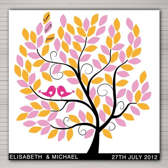 """DIY printable wedding alternative guest book 100 signatures. 23x23"""" tree with pink and orange leaves."""