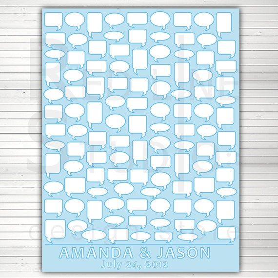 DIY PRINTABLE alternative Guest Book. Word bubbles.