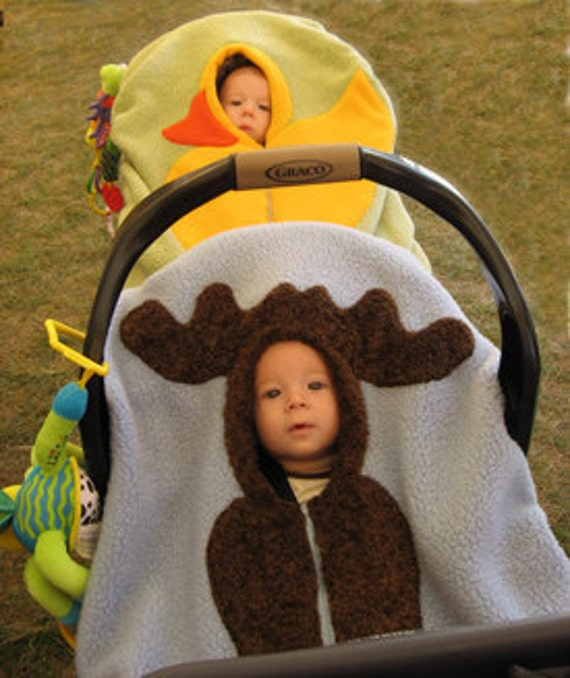 Moose Baby Car Seat Cover... on Periwinkle Blue