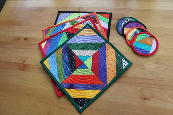 place mats -  bright, square with round coasters to match