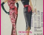1950s Vtg McCalls 5131 RARE Pauline Trigere Design Audrey H STyle Evening Dress Pattern 14/34 FF