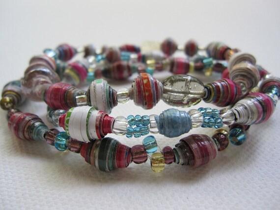 Gorgeous set of  colorful paper bead bracelets