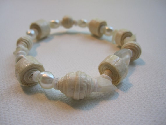 Paper pearl bracelet made with beads crafted from handmade paper