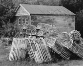 Lobster Traps - Maine -  Barn - 8 X 10 Print - Black and White Photography - Art - Wall Decor - Print - Nautical - Rustic - Film Photography