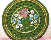 Vintage Hungarian Ceramic Plate - Hand Painted Folk Design - Bohemian - Home Decor - Green - Wall Decor - Collectibles